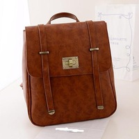 Campus style women leather Backpack  fashion school Backpacks Women's shoulder bags -8
