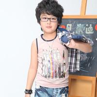 Free Shipping&Lowest Boys Tops Fashion Kids Cotton Blouse 30019  blue/brown Boy Vest  free shipping