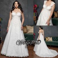 HL-PWD2141 Gorgeous Detachable Straps Lace Pattern A-line Plus Size Bride Wedding Dresses vestidos de noiva plus size 2014