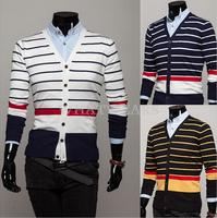 Free Shipping 2014 Stylish Mens Slim Cotton Blend Sweater Deep V-Neck Striped Long Sleeves Cardigan [3 11-0298]