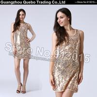 2015 Women Fashion Slim Sexy Golden Sequin Beading Short Party Dresses Girls Performance Dance Shining Vestidos Beige  QBD205
