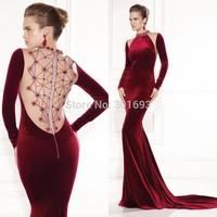 ONP107 Sexy Mermaid Sheer Crystal Beaded Back Wine Red Long Sleeve Velvet Evening Dresses