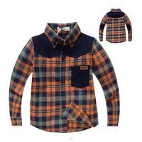 2014 fashion grid boy shirt high quality long sleeve orange/yellow plaid Children patchwork shirts England Style shirt