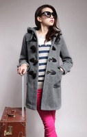 2014 Best Selling  Women's Long Wool Winter Coats Apparel Coat US Size Hooded Outwear Female's Slim Clothing