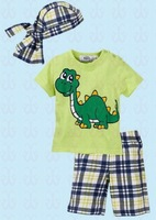Summer 2014 Baby Boys Clothing Suits  O-Neck Short Sleeve Cartoon T-Shirt + Plaid Pants + Hats 3 Pcs Suits Kid Clothes K4057