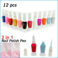 12 Pcs Different Colors Nail Art Polish Pen For Fingernail Drawing Brush Beauty Desgin Tips