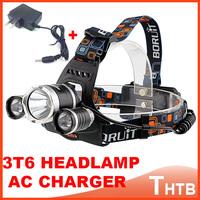 2014 new 3x CREE XM-L XML T6 LED 5000Lm Rechargeable Headlamp Headlight Head lamp flashlight farol bike+ AC Charger