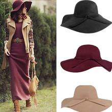 Fashion Women Lady Wide Brim 100% Wool Felt Bowler Fedora Hats Floppy Cloche Free Shipping(China (Mainland))