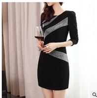 New Fashion 2014 Winter Autumn Long-sleeve Slim Women Mini Bandage Dress Elegant Ladies Party Dress Vestido Casual Free Shipping