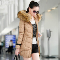 New 2014 warm women winter jacket fur hood solid color coat fashion long slim wadded thick parka female