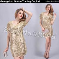 2015 Wholesale Women Summer Dress Fall European Fashion Elegant Golden Sequined Cut Out Short Casual Dresses Beige QBD206