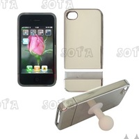 Free shipping Detachable Hard Case Cover with Stand for iPhone 4