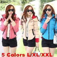 Lanluu New Popular 2014 Winter Jackets Hooded Women Short Down Cotton Coat Wadded Parkas SQ890