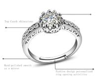 Finger Rings Free Ship CZ Stone Wedding Ring Adjustable Size 1pcs Rings