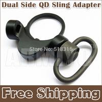 "Armiyo Dual Side QD Sling Adapter Mount Attachment Swivel With 1-1/4"" Push Botton Hunting Fixed Flashlight Black Free Shipping"