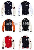 2014 Hot Sale Winter Casual Man Jacket College Baseball Men Coat Jacket Outwear Plus Size M L XL XXL Free Shipping