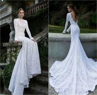 Berta Wedding Dresses See Through Mermaid Open Back Elegant Lace Wedding Dress White Vestido de Novia Custom Robe de Mariage