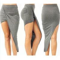 Free shipping.High grade Cut hand knife cotton wrap dress asymmetric vertical pleat skirts knitted dress