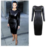 2014 Sexy Women Clubwear PU Dress Leather Look Long Sleeve Crew Neck Party Midi Dress Black