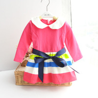 Free Shipping 2014 New Style Baby Girls Lovely Dresses Long Sleeve Autumn Sashes Dress  Kids Full Dresses Bow Bud