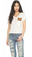 2014 women  T-shirt  Retro chest pocket fox flash pattern printing T-shirt cuffs hem Rib V-neck T- shirt