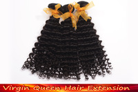 Cheap Virgin curly hair 4pcs/lot Human hair products Brazilian virgin hair weave Human deep curly hair Free shipping Color1b