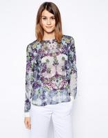 2014 women Chiffon Blouse  Purple Floral white stitching placket shirt  blouse