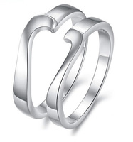 Free Shipping Love Heart Couple Rings Platinum Plated Concise Ring WEDDING BAND RING