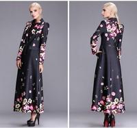 2014 high fashion women's autumn coat outwear single-breasted trench coat flower print outwear female plus size wind coat