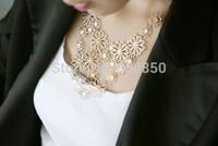 Imixlot Necklace Elegent Women Camellia Flower Cluster Pendant Alloy Openwork Necklaces New Arrival JN06209