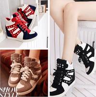 3 color , Autumn winter Isabel Marant Fashion Wedge Sneakers,Leather&PU,Height Increasing Women's Shoes tenis feminino EU 35~39