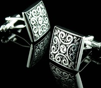 High quality Black and Sliver Mens Shirt Fractal Design Cufflinks Low Price Free shipping wholesale