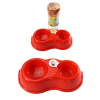 Automatic Double Dog Bowl With Water Dispenser Pet Feeder Drinking Dish Supplies ( Color Randomly )