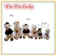 Free Shipping 20pcs / lot 8CM Bear Plush Toy. Fashion DIY Wedding Gown Couple Teddy Bear Doll. Decorative Pendant Stuffed Toy