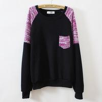 2014 new women cotton hoodies thin fleece inside long sleeve o neck letters sweatshirt for women 3 color free shipping