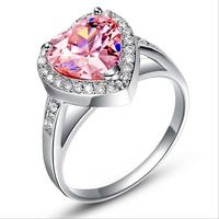 3CT PINK CircOnAN NEAUX RINGE Finger Rings Free Ship Zircon Stone Wedding Rings ANILLOS FASHHION JEWELR