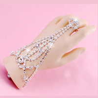 Fashion Wedding Bridal Jewelry Hand Harness Ring Bracelet Chain Inlay Rhinestone Crystal Adjustable Ring