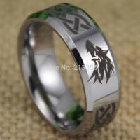 Free Shipping USA UK CANADA RUSSIA Brazil Hot Selling 8MM Legend of Zelda Wolf Silver Bevel Men's Fashion Tungsten Wedding Ring