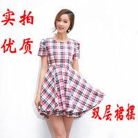 6018 # new Women commuter Slim lady temperament princess skirt plaid short-sleeved dress women