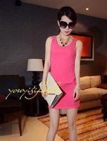 Free gif6109 # 2013 summer new fashion solid color / Steller wild vest dress Slim hip