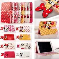 Cute Cartoon Characters Mickey & Minnie Mouse Tablet Skin Bowknot Magnetic Buckle Flip Case For iPad Mini & Mini Retina Display