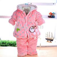 2014 New Children's Fleece Set Bee Winter Baby Girl Clothing Set Coats/Tops+Pant Boys Winter Outwear 0-2T