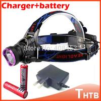 2014 zoomable head lamp light Headlamp Headlight flashlight CREE XM-L XML T6 LED 2000 Lm lanternas with 18650 battery Changer