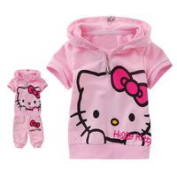 2014 new hello kitty fashion baby clothes girls coat+pants 2pcs set kids summer suits children clothing set girls wear 5sets/lot