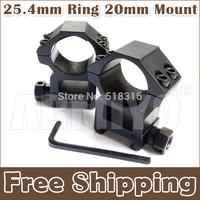 "Armiyo 25.4mm 1"" Ring 20mm Weaver See Through High Heavy Duty Binoculars Scope Flashlight Mount Hunting Flat Top Free Shipping"