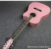 free shipping Factory wholesale OEM 41 inch length about 104 cm missing Angle acoustic guitar pink, white