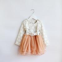 2014 New autumn,girls princess dress,children floral dress,long sleeve,sashes,buttons,6 pcs/lot,wholesale,1785