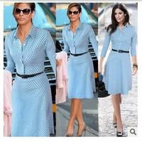 High Quality New 2014 Women Work Wear Office Dresses Vestidos Elegant Bandage Casual Bodycon Polka Dot Dress Plus Size With Belt