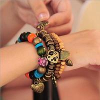 Vintage Joker Muti Element Beads Heart Shell Bracelet & Bangles Wristband For Women Gift  AMB024