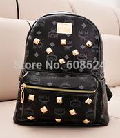New 2014 fashion men's backpacks high quality PU women backpack men travel bags brand school backpacks free shipping
